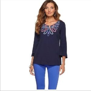 Lilly Pulitzer Charlotte Beaded Tunic Top Sz XS
